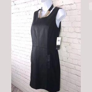 Kensie black faux leather & polyester shift dress
